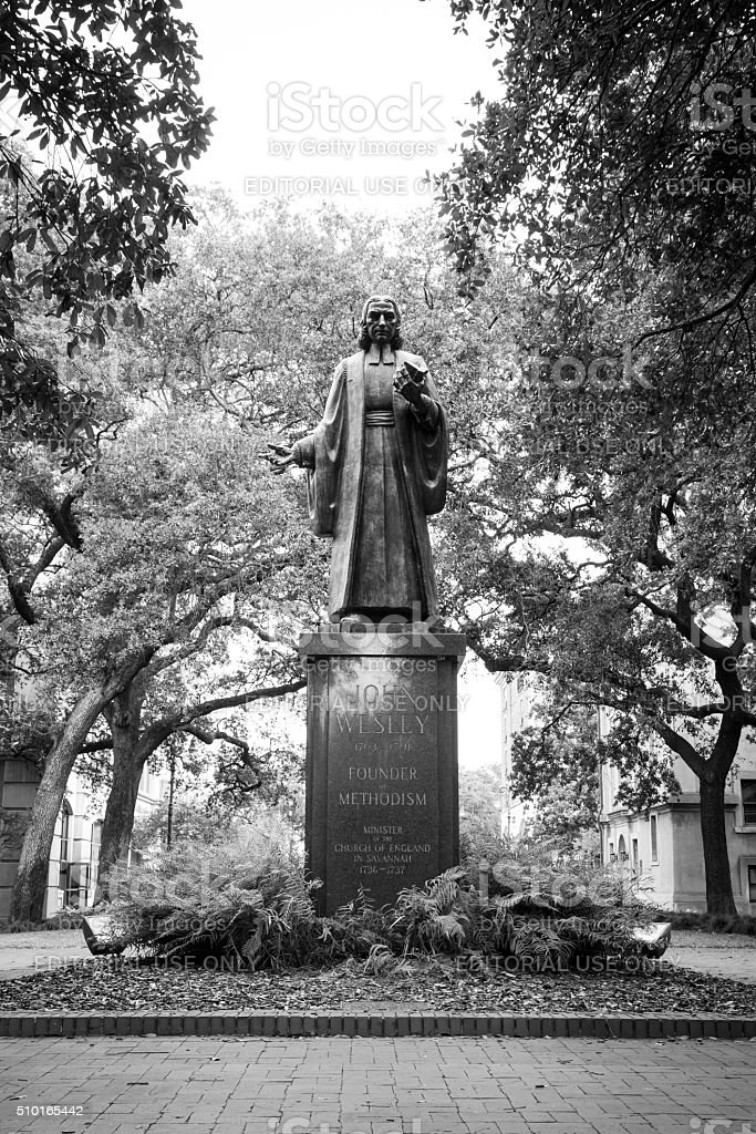 John Wesley Statue, Savannah, Georgia stock photo