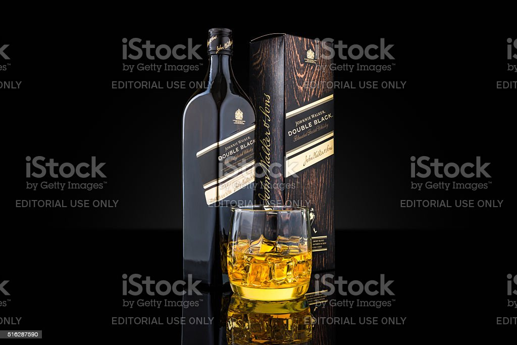 Johnnie Walker Double Black blended scotch whisky stock photo