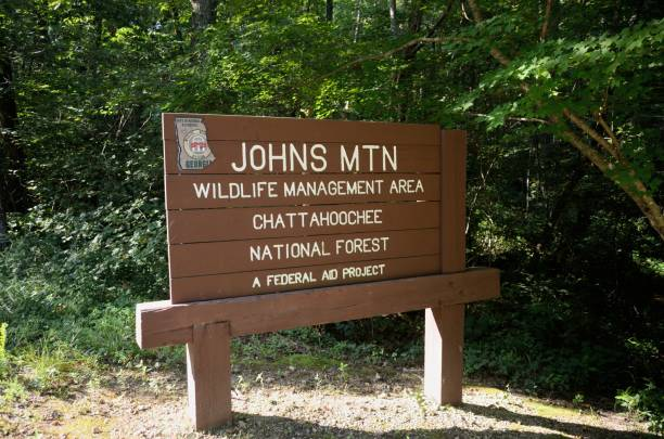 Johns Mountain Wildlife Management Area sign stock photo
