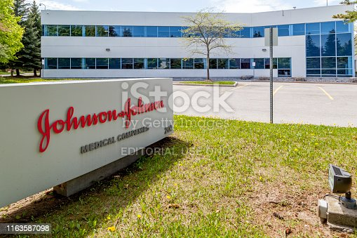 Markham, Ontario, Canada - May 21, 2018: Johnson & Johnson Medical Products company in Markham, Ontario, a division of  Johnson & Johnson Inc.