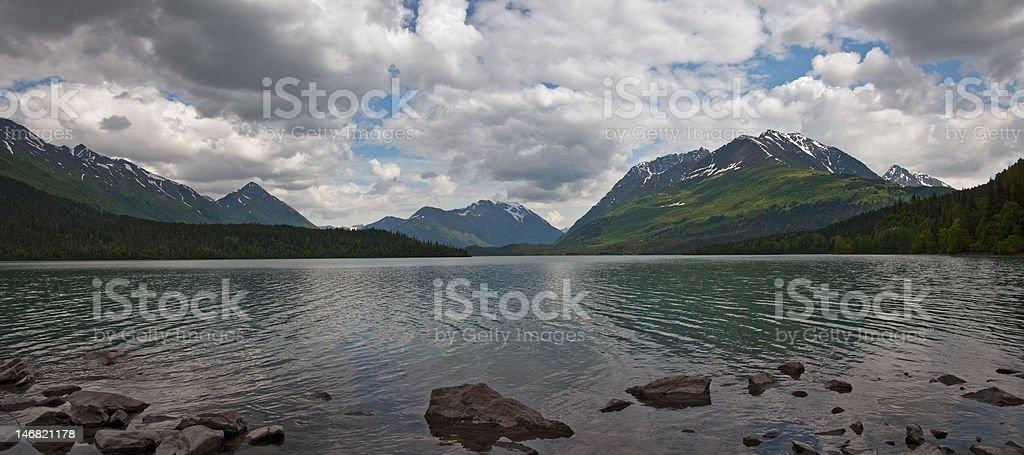 Johnson Pass from Upper Trail Lake Panorama royalty-free stock photo