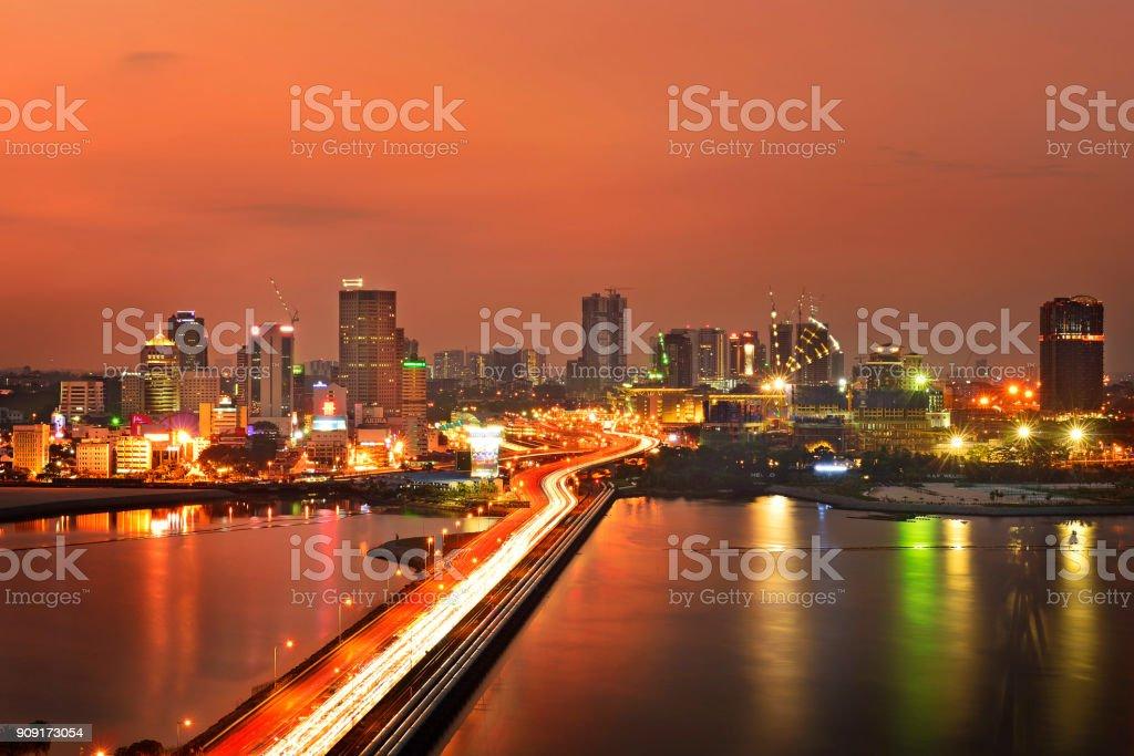 Johor Bahru at night stock photo