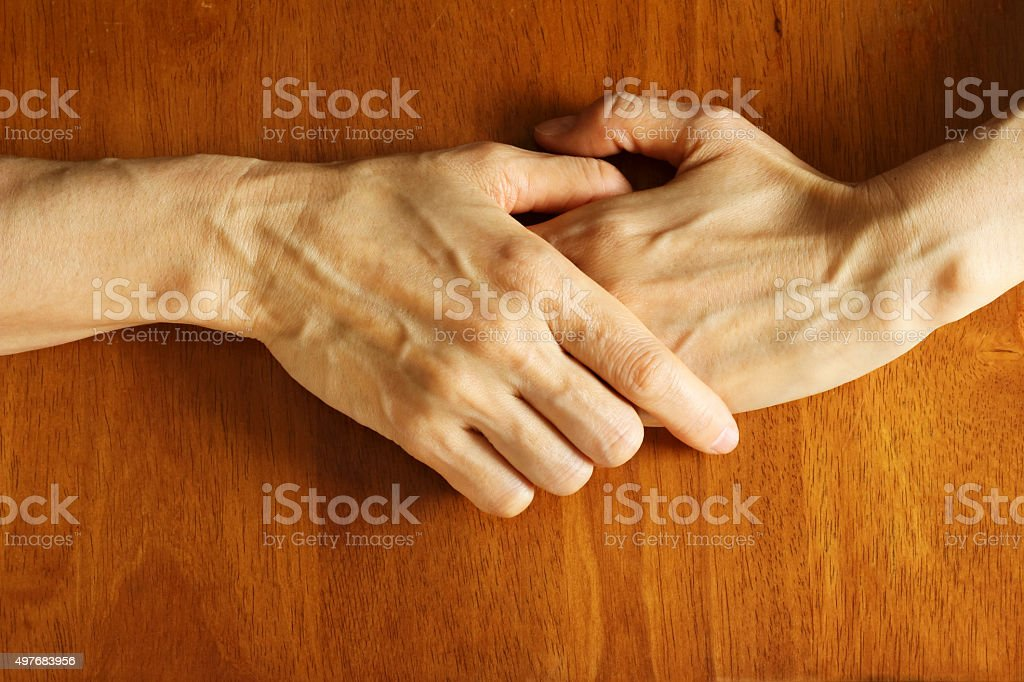I join hands stock photo