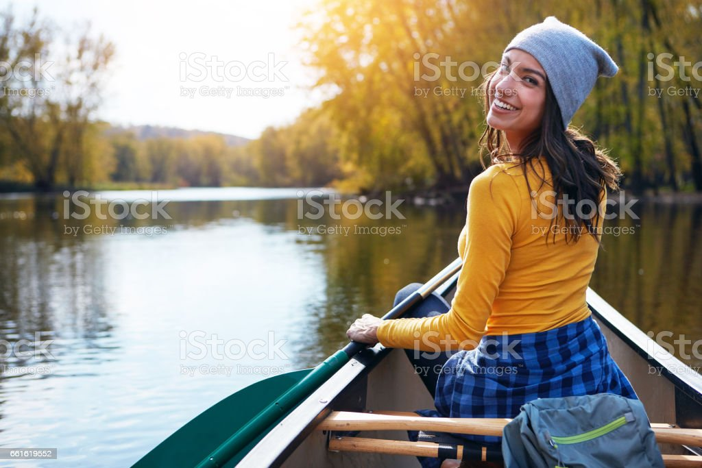 Join me for a gentle paddle out on the lake? stock photo