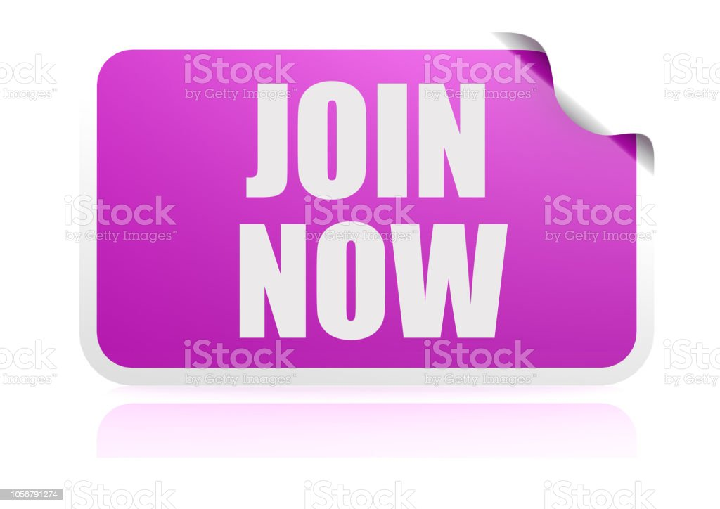 Join now purple sticker stock photo