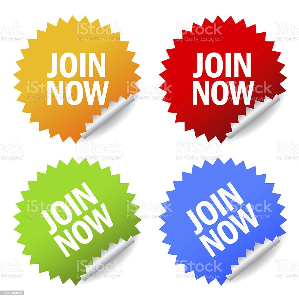 Join now stickers royalty-free stock photo