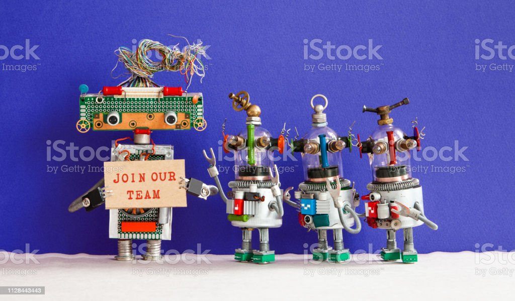 Join our team concept. Four funny robots looking for a new assistant...
