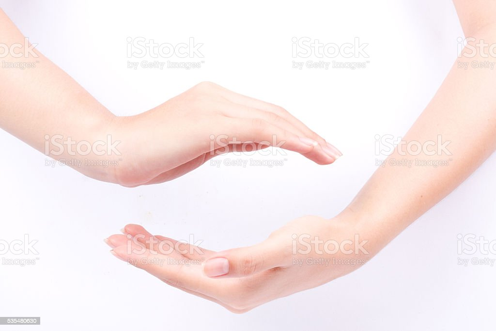 join two cupped hands may the force be with you stock photo