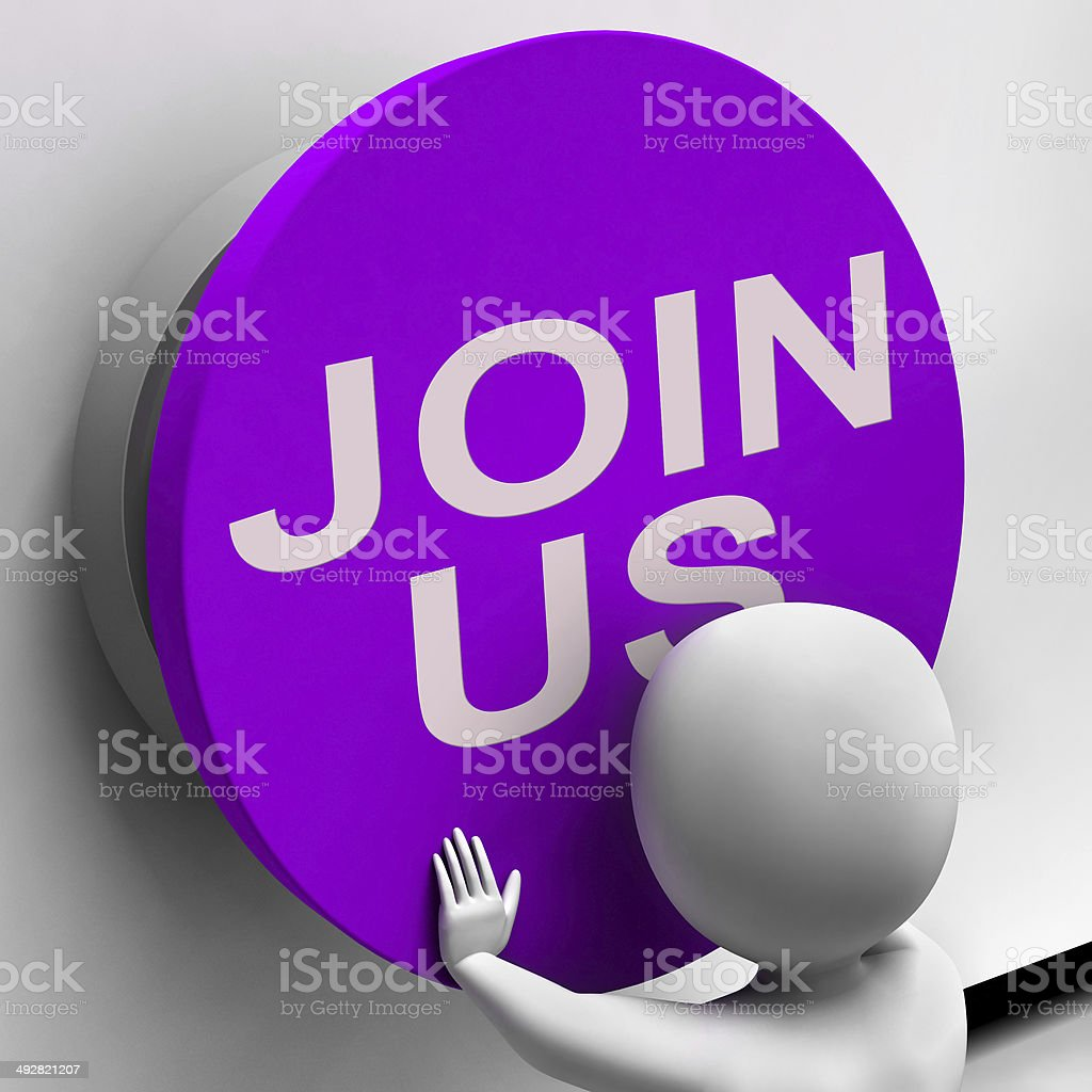 Join Us Button Means Register Volunteer Or Sign Up Stock Photo