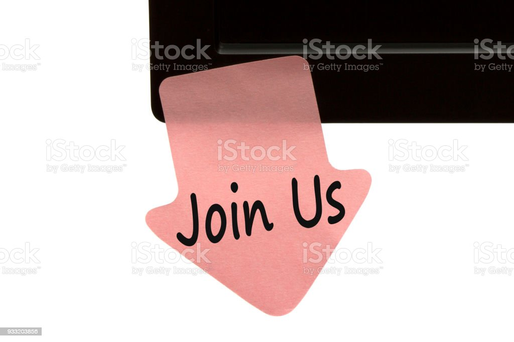 Join Us written on note concept stock photo