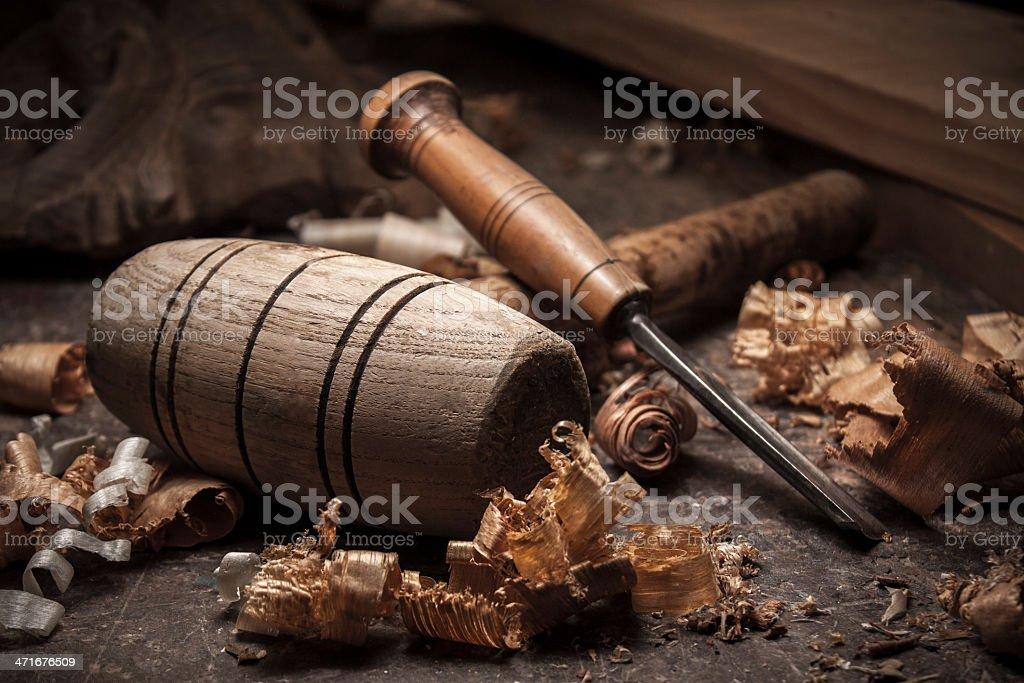Tischler-tools auf Holztisch Hintergrund – Foto