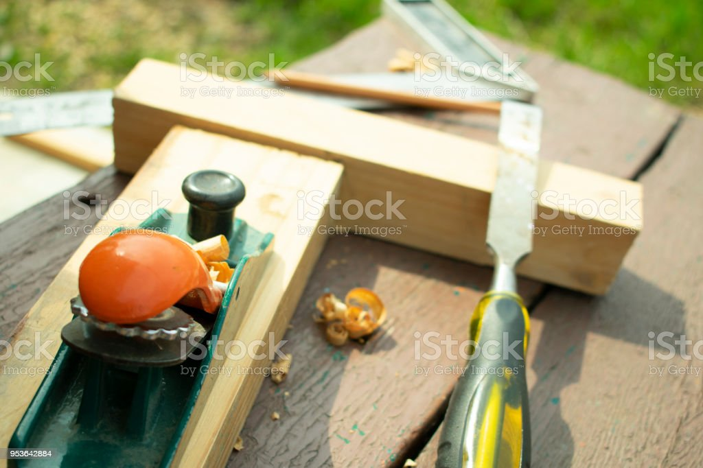 joiner's tools and boards to work stock photo