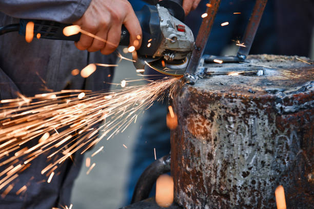 joining metals by electric arc welding stock photo