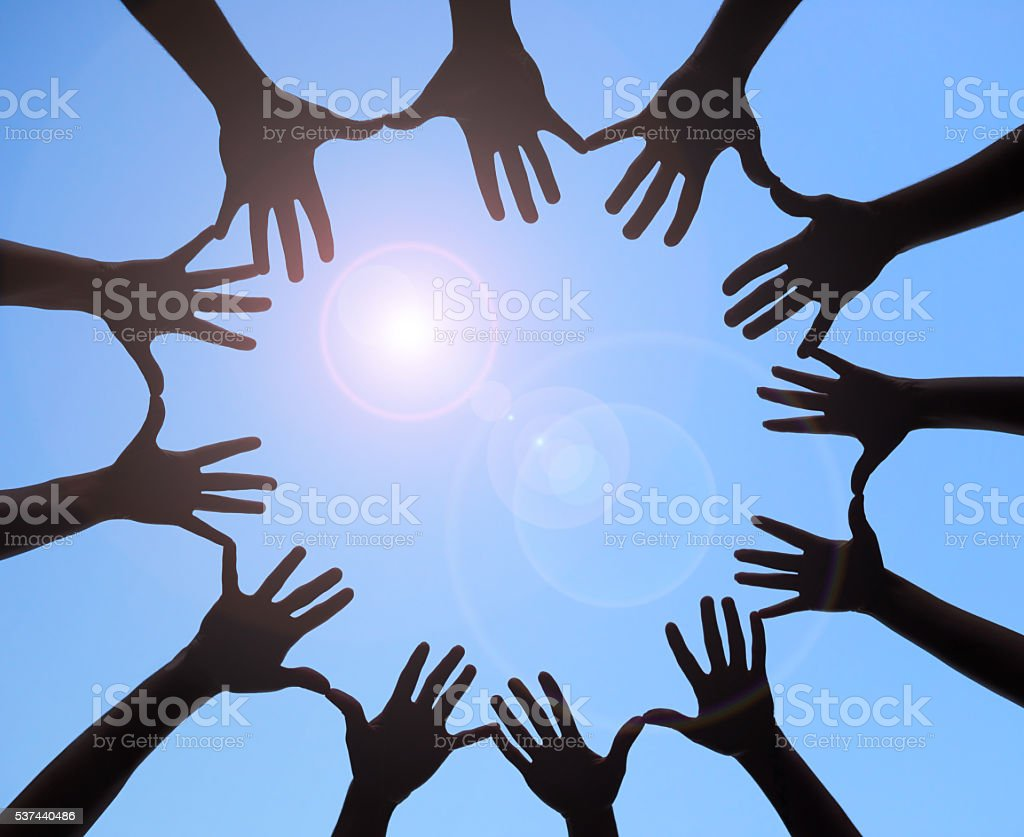 Joining together to form one stock photo