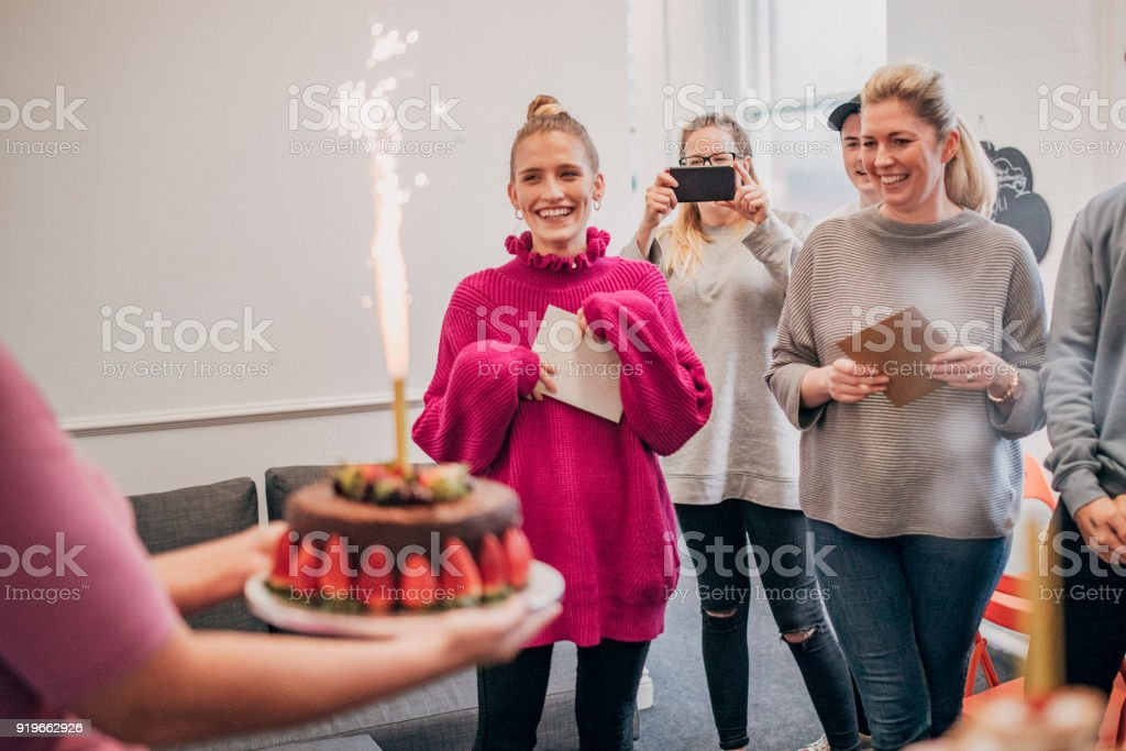 Joint Birthday in the Office stock photo