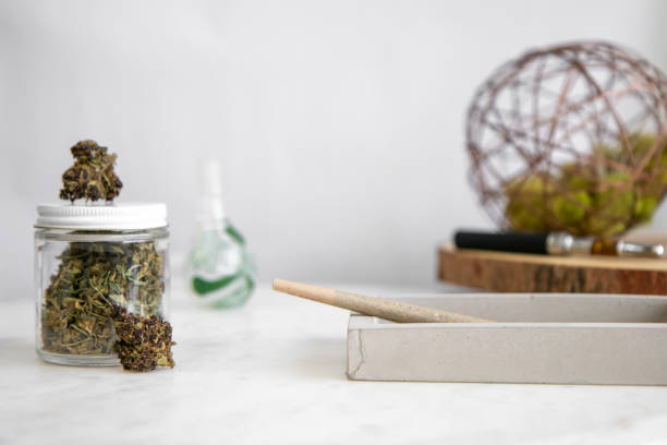 Joint, Buds, Shake, Glass Pipe - Cannabis Dispensary Products stock photo