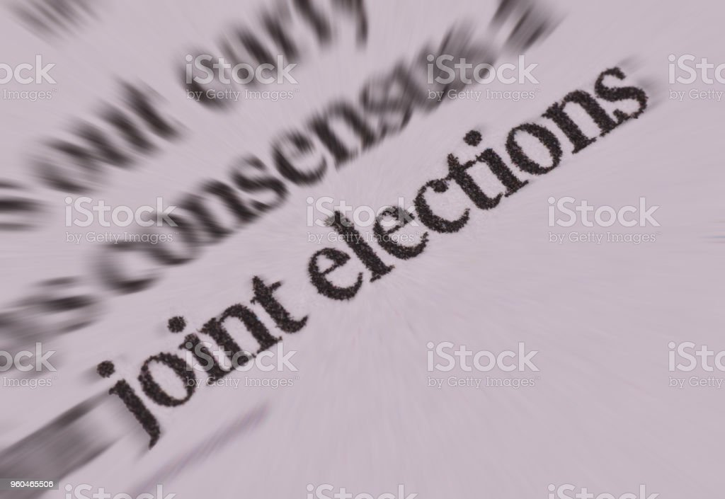 Joint elections news in news paper in black letters stock photo