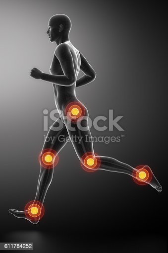 istock Joint knee, hip and ankle  running man leg 611784252