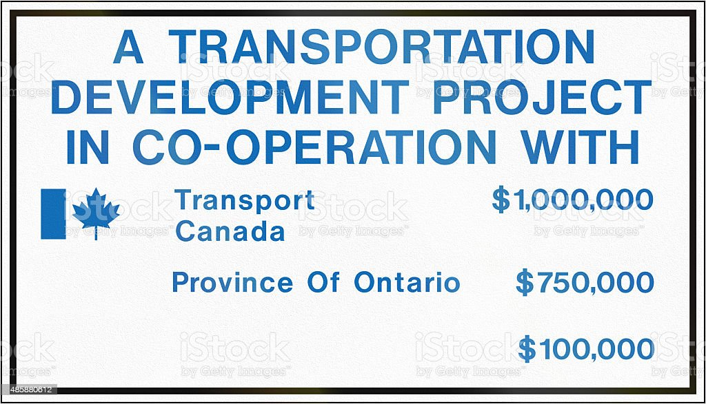 Joint Project Contract Identification Sign in Canada stock photo