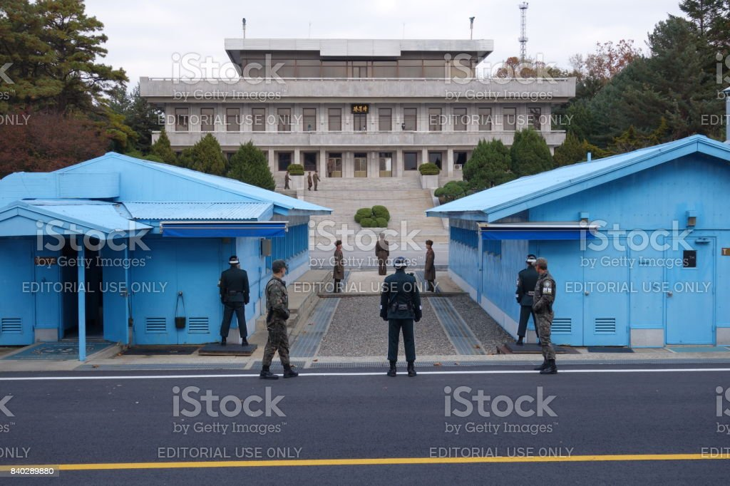 Joint Security Area. Border between South and North Korea stock photo