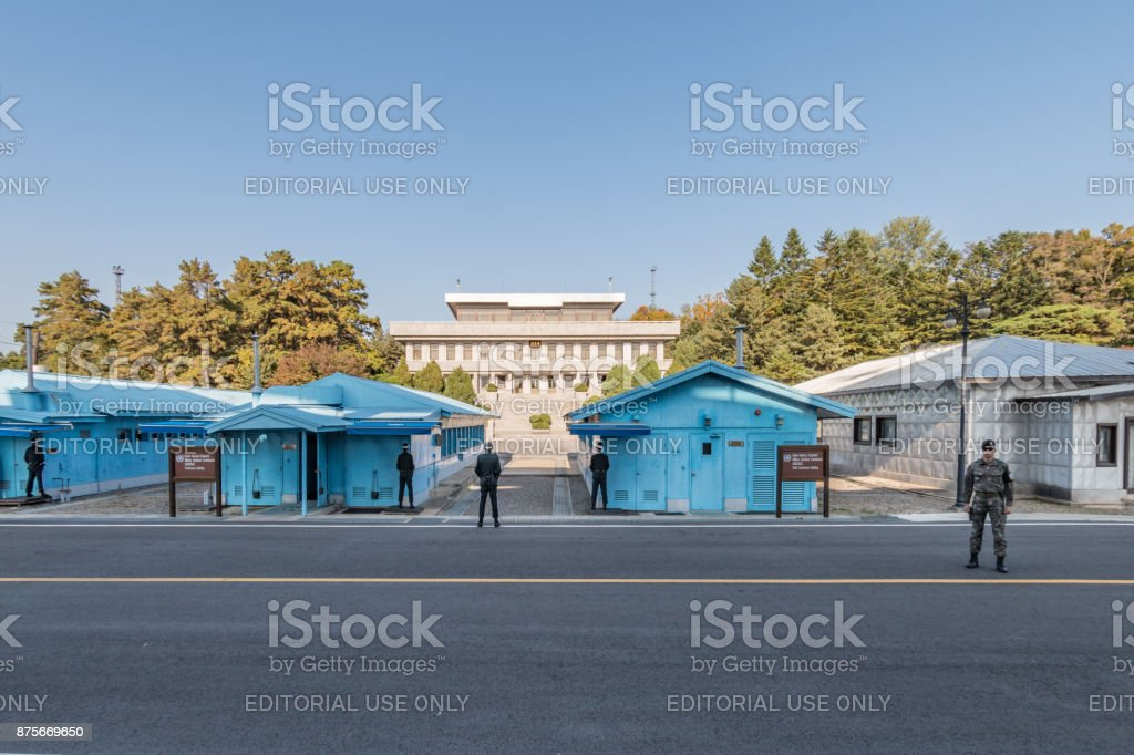 Joint Security Area DMZ conference buildings between South and North Korea 2017 stock photo
