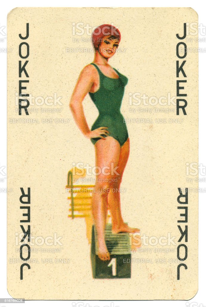 Joker black lettering Romikartya 4 vintage playing card Hungary 1950s royalty-free stock photo