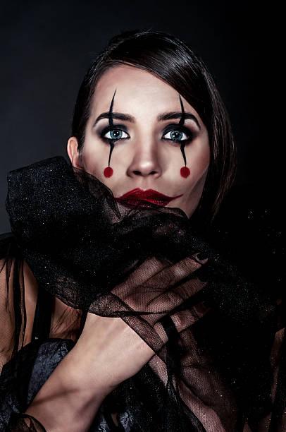 joker-lady - teufel schminken stock-fotos und bilder