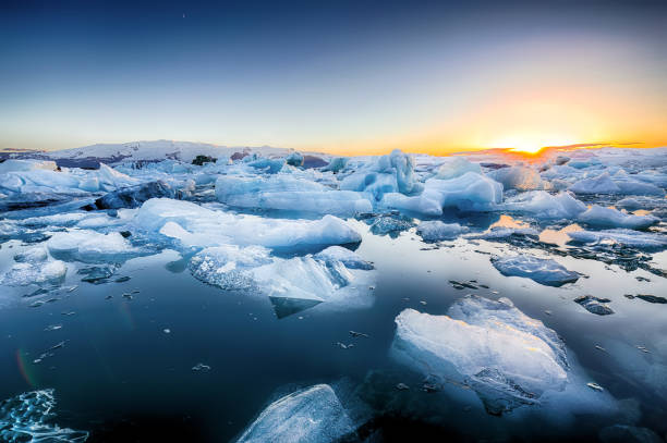 Jokulsarlon glacier lagoon stock photo