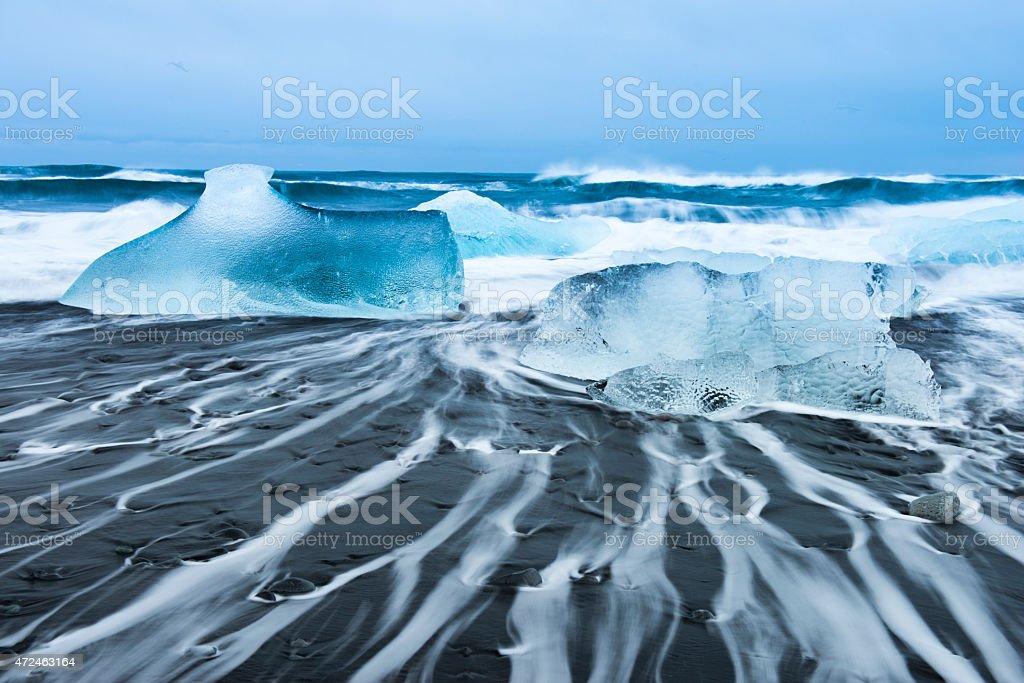 Jokulsarlon Ice Beach in Iceland stock photo