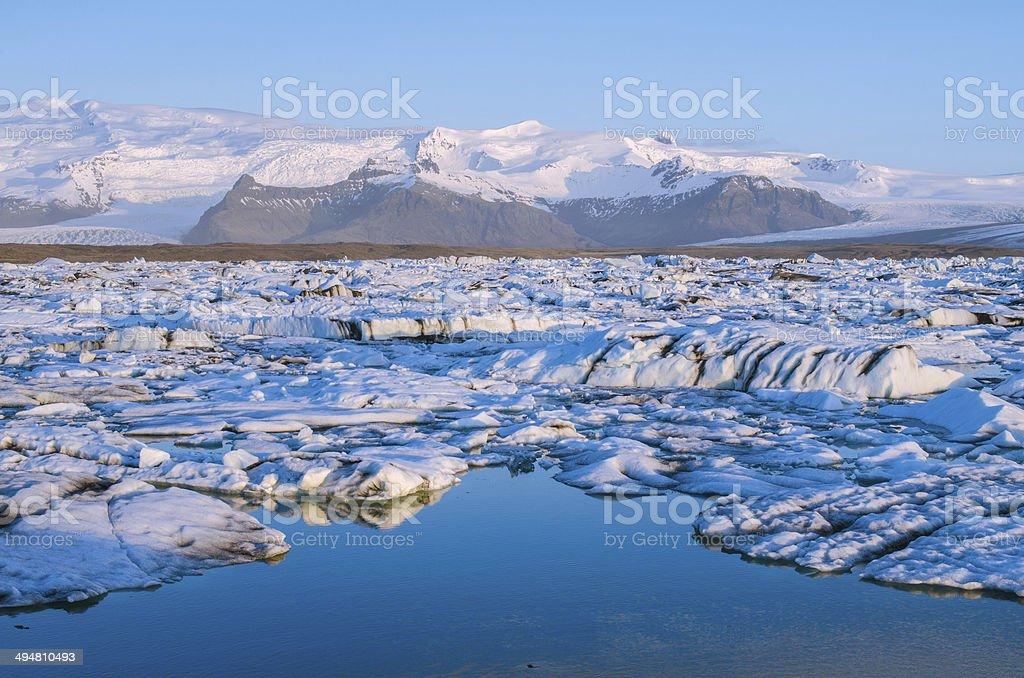 Jokulsarlon ice lagoon at sunrise stock photo