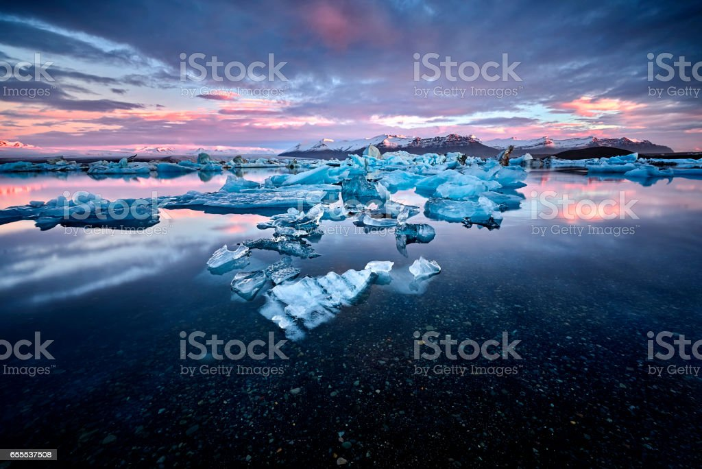 Jokulsarlon lagoon, Beautiful cold landscape picture of icelandic glacier lagoon bay, Iceland stock photo