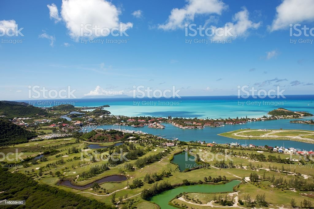 Jolly Harbour aerial view landscape stock photo