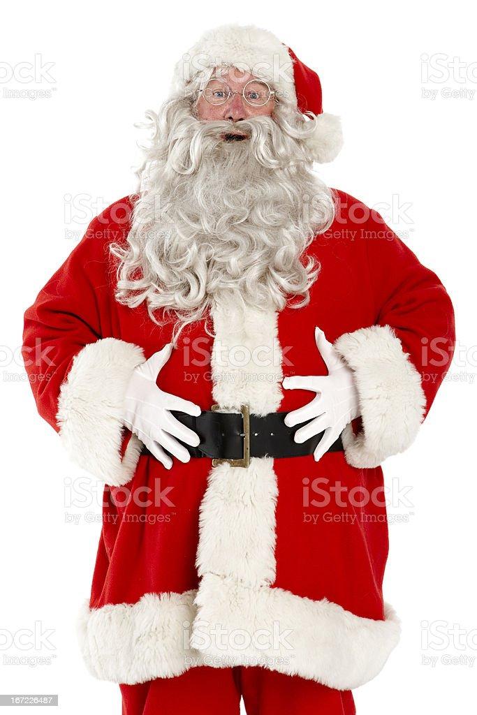 Jolly laughing Santa on white background. stock photo