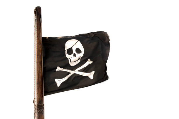 Jolly Roger en mástil de madera - foto de stock