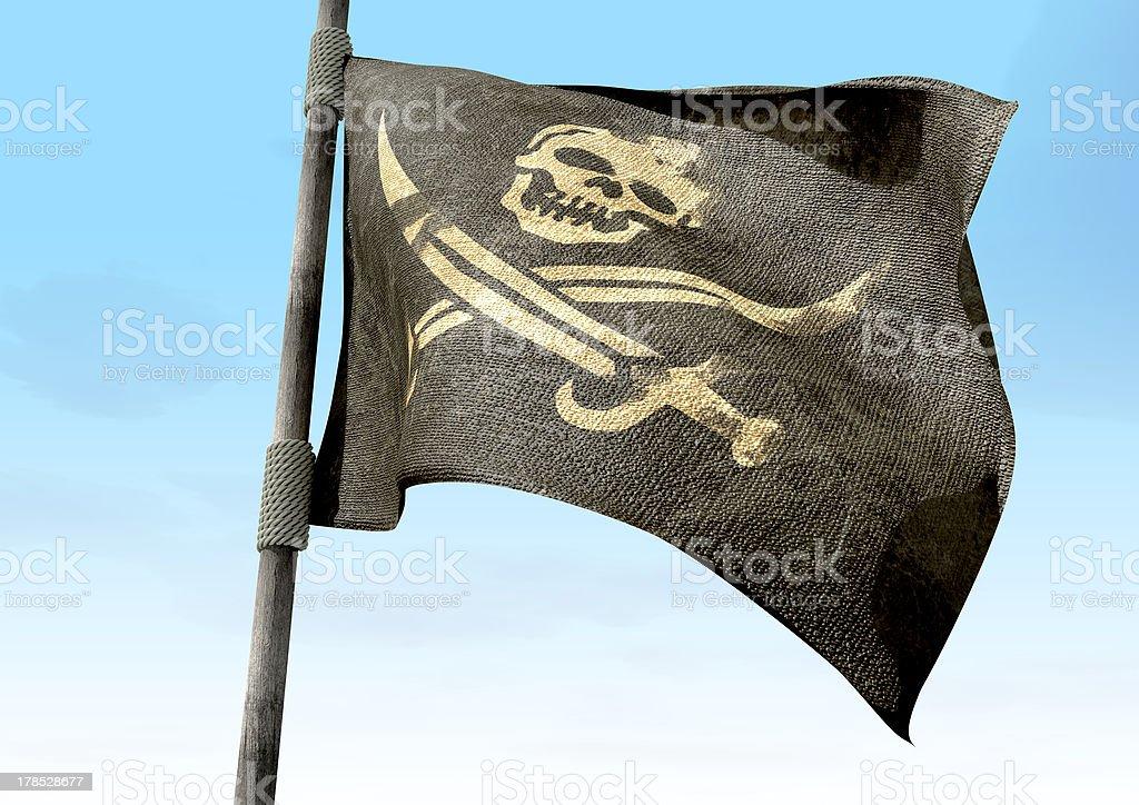 Jolly Roger primer plano de bandera de piratas - foto de stock