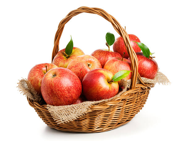 Jonagold Apples in a Basket Jonagold apples in a basket on white background basket stock pictures, royalty-free photos & images