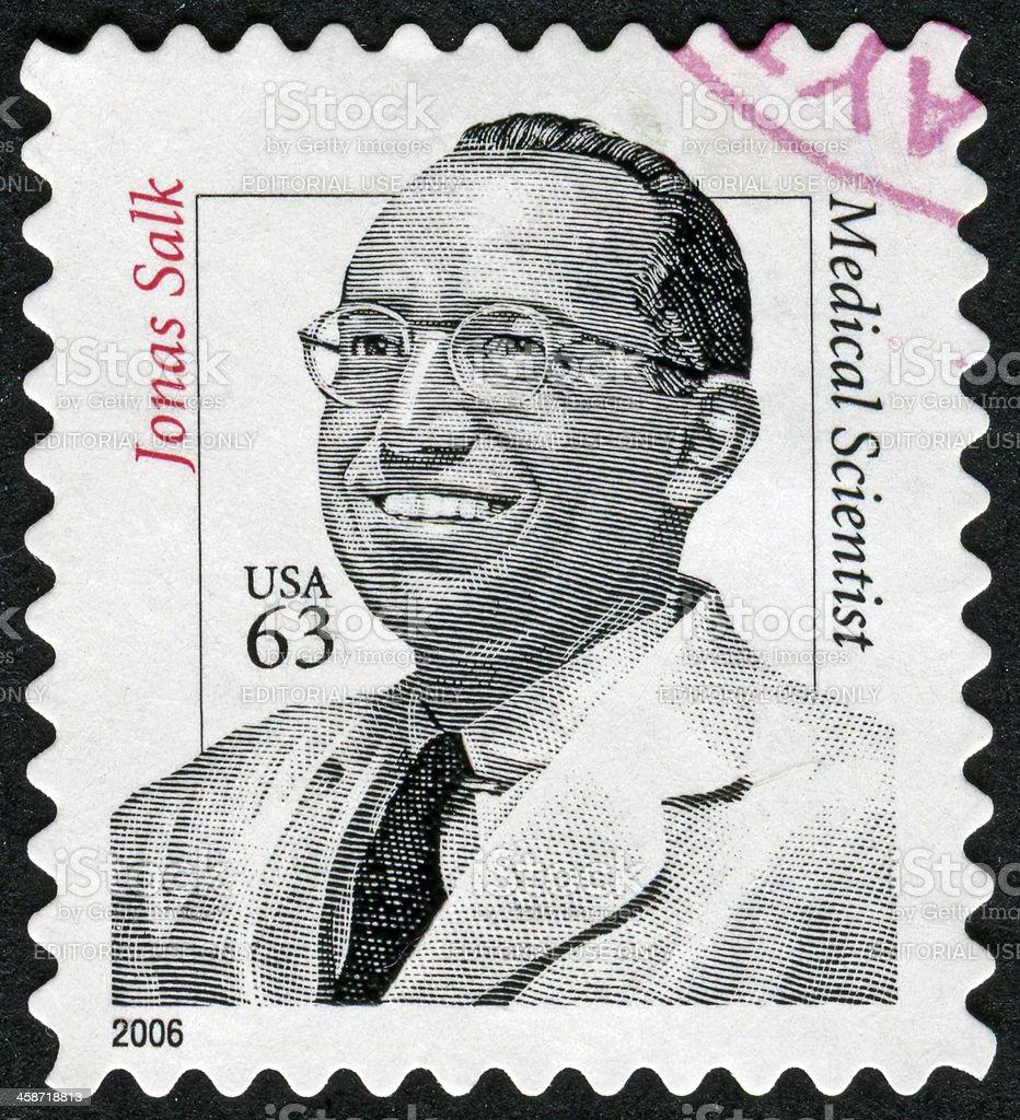 Jonas Salk Stamp stock photo