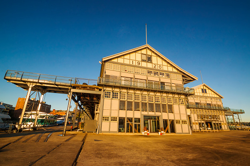 Old restored warehouses at sunrise. Piers 19, 20 and 21, Jones Bay Wharf, Pyrmont.