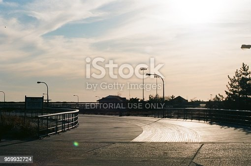Wantagh, United States - March 19, 2018:  Boardwalk in bright sun at Jones Beach on Long Island, Wantagh, New York, March 19, 2018