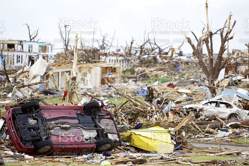 Joplin Missouri deadly F5 Tornado debris scattered stock photo