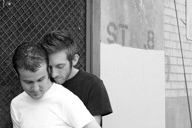 jordan and larrance in the alley black/ white stock photo