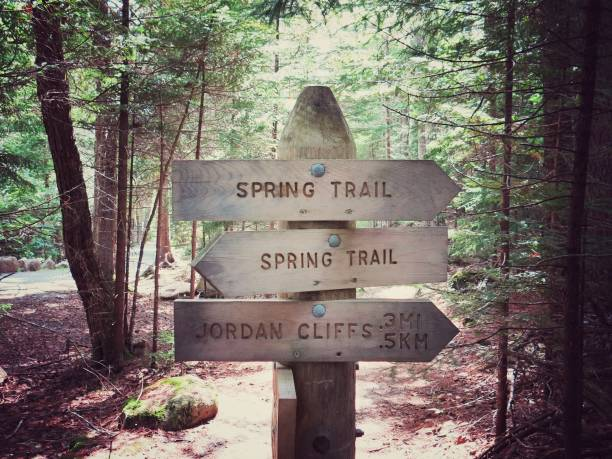 Jordan Cliffs, Spring Trail Arrow Sign, Acadia National Park, Maine stock photo