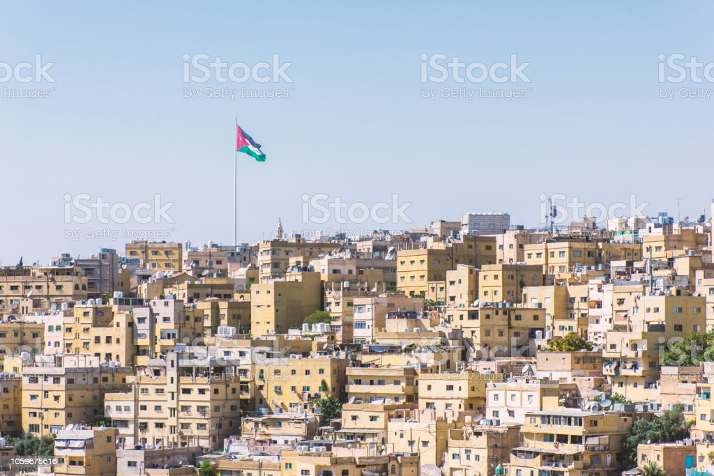 Jordan flag in Amman stock photo