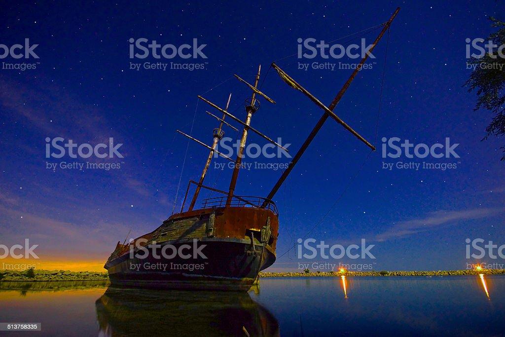 Jordan Harbor Boat stock photo