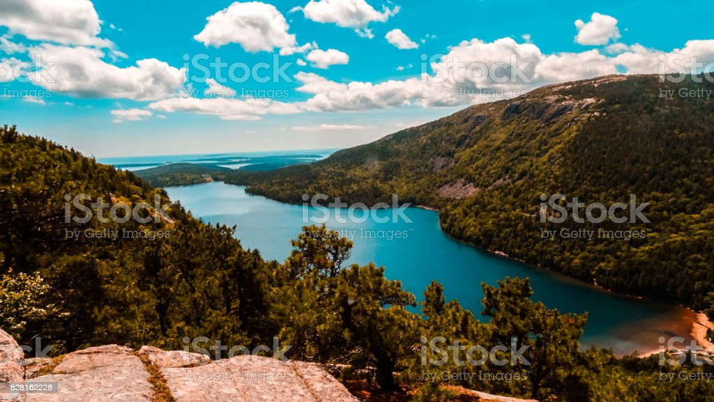 jordan pond from north bubble mountain stock photo