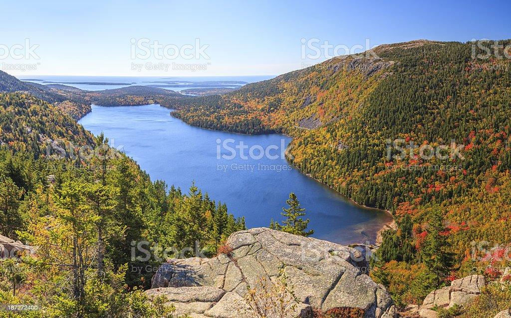 Jordan Pond in Autumn panorama, Acadia National Park stock photo