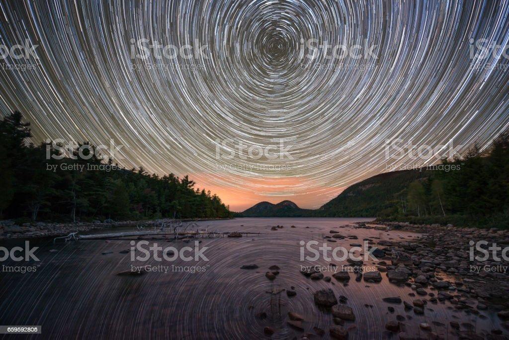 Jordan Pond polaris star trails stock photo