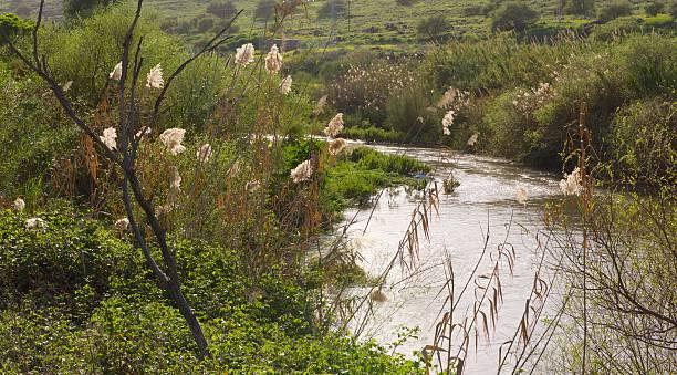 Jordan River in Israel stock photo