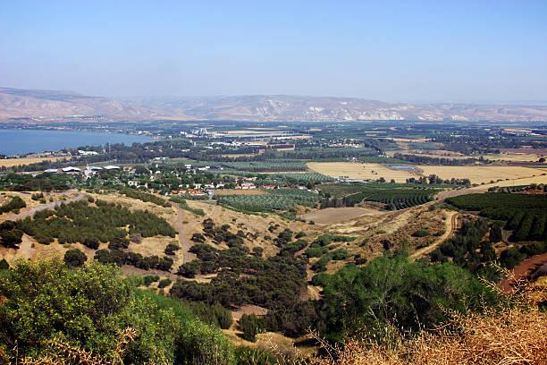 Jordan Valley and sea of galilee stock photo