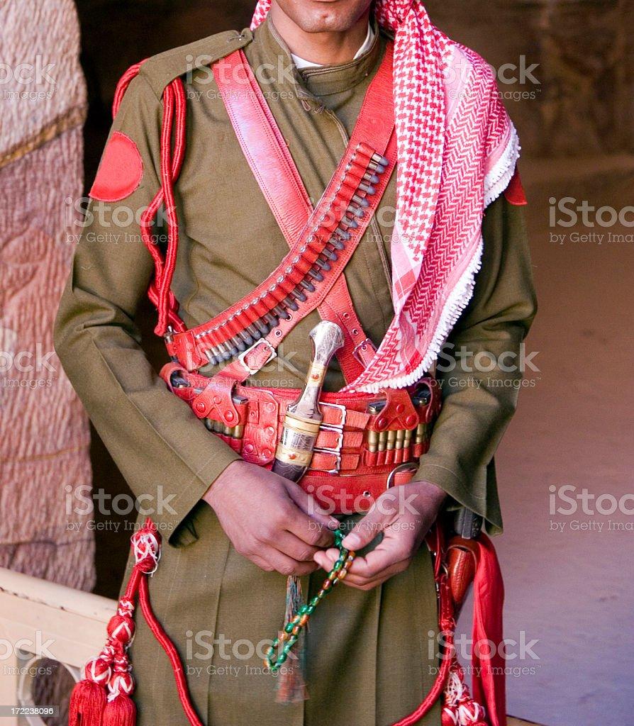 Jordanian military security guard royalty-free stock photo